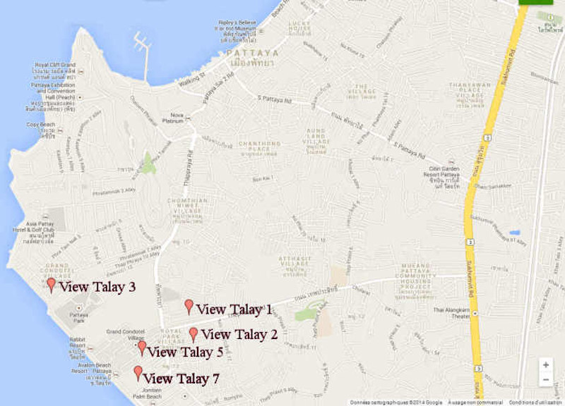 Location Map Of Viewtalay Residences Jomtien